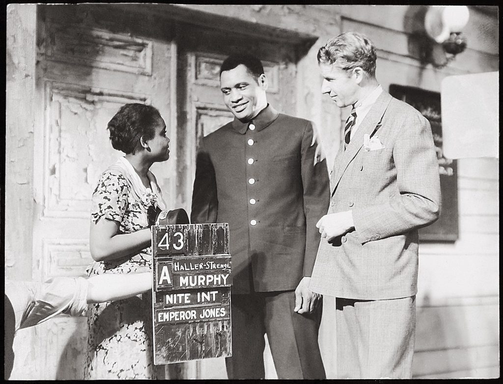On the set of The Emperor Jones , 1933: Ruby Elzy (Dolly), Paul Robeson (Jones), and Dudley Murphy Courtesy the Murphy Family Collection